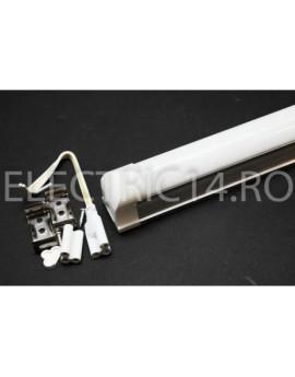 Tub Led T8+Suport 30cm 6w Aluminiu Mat Lumina Rece