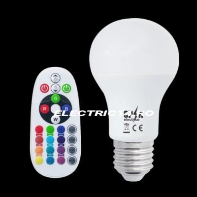 Bec led E27 8w G120 RGB- Lumina Rece+Telecomanda