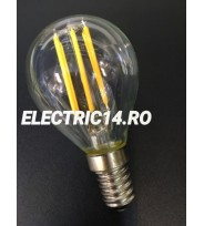 Bec Led E14 4w Sferic Filament Lumina Rece