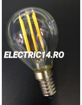 Bec Led E14 4w Sferic Filament Lumina Intermediara