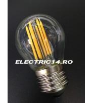 Bec Led E27 6w Sferic Filament Lumina Calda