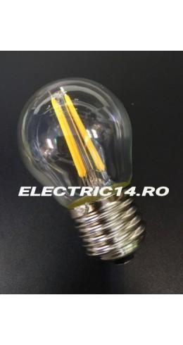 Bec Led E27 4w Sferic Filament Lumina Intermediara