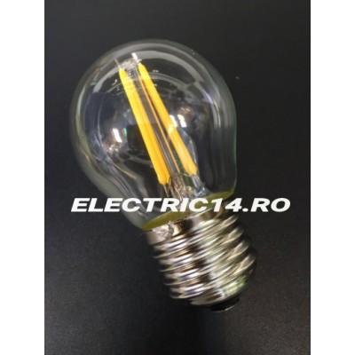 Bec Led E27 4w Sferic Filament Lumina Calda