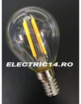 Bec Led E14 4w Sferic Filament Lumina Calda