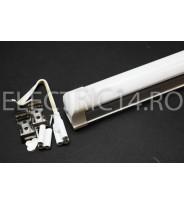 Tub Led T8+Suport 90cm 14w Aluminiu Mat Lumina Rece