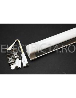 Tub Led T8+Suport 60cm 9w Aluminiu Mat Lumina Rece
