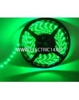 Banda led 3528 12V (4.8W-M) exterior silicon rola 5 m Verde