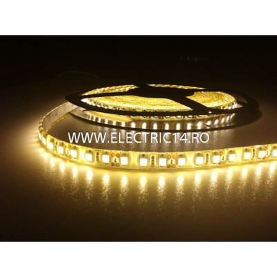 Banda led 3528 12V (4.8W-M) exterior silicon rola 5 m Lumina calda