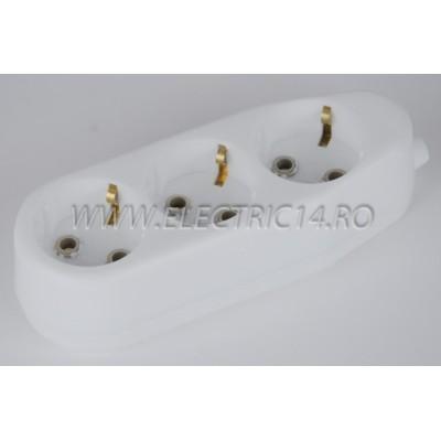 Cap Prelungitor Schuko 3 Posturi Ceramic Ipee