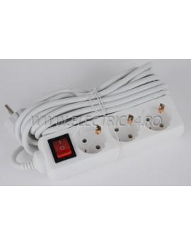 Prelungitor schuko 3 posturi cu intrerupator 3 m (FTM)