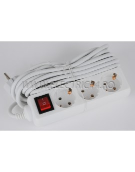 Prelungitor schuko 3 posturi cu intrerupator  5 m (FTM)
