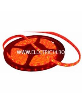 Banda led 3528 12V (4.8W-M) exterior silicon rola 5 m Rosu